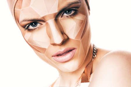 bodyart: portrait of woman with geometrical bodyart