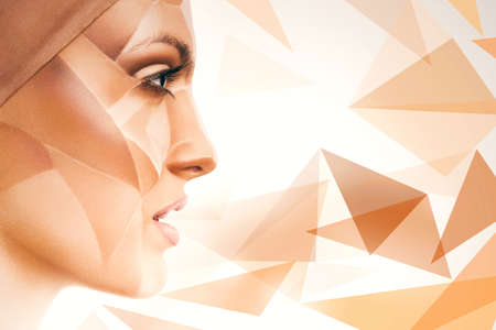 bodyart: attractive woman with bodyart on face and geometric pattern around