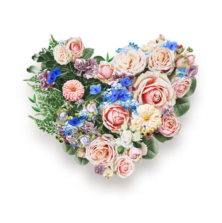 st valentine's day: heart of blue flowers and leaves on st valentines day on white background