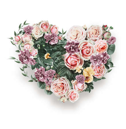 st valentine's day: heart of tender pink roses on st valentines day on white background