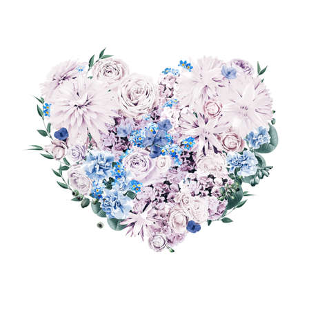 st valentine's day: heart of blue and violet flowers on st valentines day on white background Stock Photo