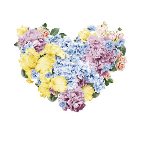 st valentine's day: heart of yellow and blue flowers on st valentines day on white background