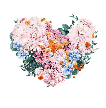 st valentine's day: heart of orange and pink flowers on st valentines day on white background