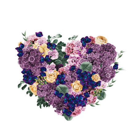 st valentine's day: heart of violet and dark blue flowers on st valentines day on white background