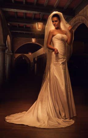 dark interior: mystic bride in old dark interior