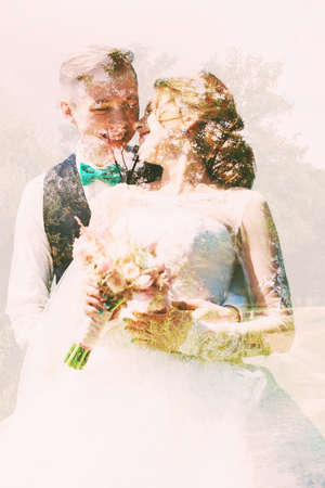 abstract portrait of smiling bride and groom photo