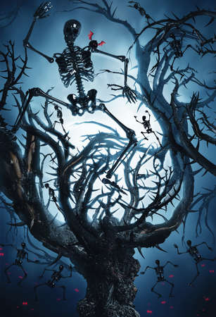 woodland  horror: big mystic tree with halloween skeletons at night in moon light