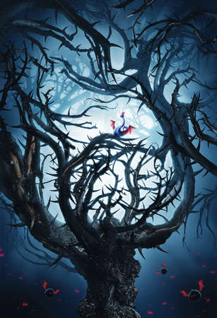 woodland  horror: big mystic tree with thorns at night in moon light