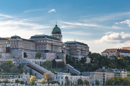 Panoramic city view of the Royal Palace on the Buda Castle Hill. Scenic cityscape of historic district of Buda, in Budapest, Hungary.