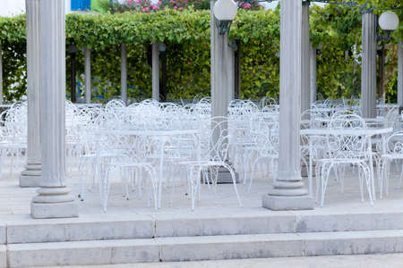 in the open air: restaurant tables in the open air. outdoors Stock Photo