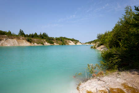 cretaceous: the artificial lake which appeared on cretaceous pits. Belarus Stock Photo