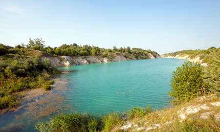 pits: the artificial lake which appeared on cretaceous pits. Belarus Stock Photo