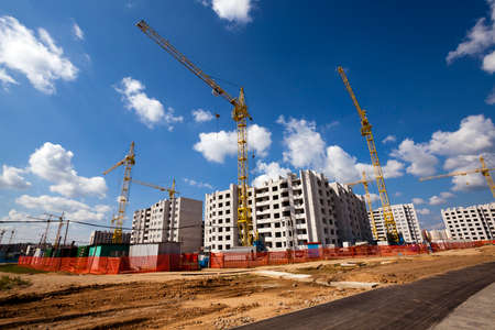 construction of the new house in the new area in the city. Belarus