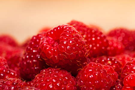 sharpness: the gathered and piled raspberry. small depth of sharpness