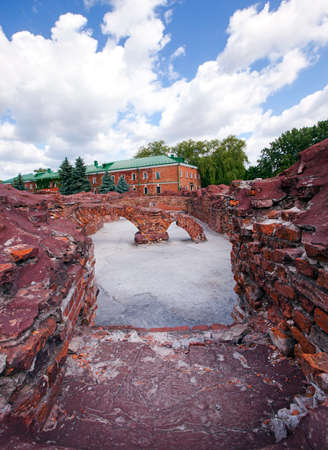 brest: the preserved ruins of buildings of the Brest fortress. Belarus