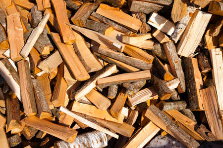 put together: the logs cut and put together for various purposes Stock Photo