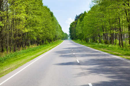 blacktopping: the asphalted road to summertime of year Stock Photo