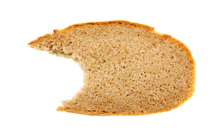 eaten: the piece of the black bitten bread isolated on a white background