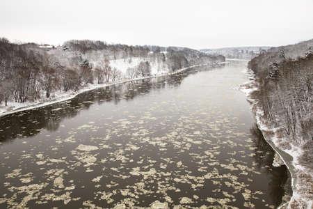 belarus: Neman River in winter. Belarus