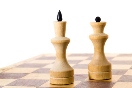 wooden chess set, isolated on white background