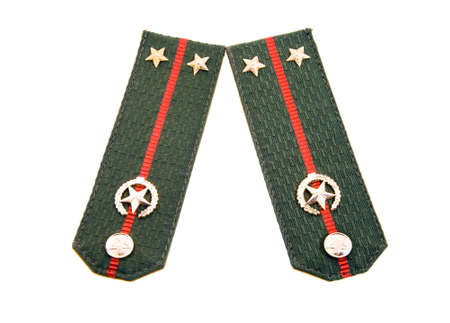 lieutenant: the shoulder straps of the military of the Belarusian army isolated on a white background, the lieutenant Stock Photo
