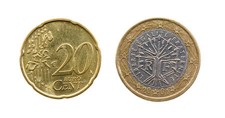 reversing: the European coin in 20 cents. isolated on white
