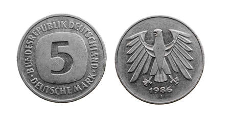 deutschemarks: old German coin-mark. isolated on white
