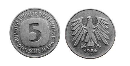 deutschemarks: old German coin-mark. isolated on white