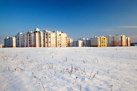 multistorey: multi-storey building, photographed in winter
