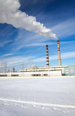 productos quimicos: planta para la producción de productos químicos y la planta de energía Foto de archivo