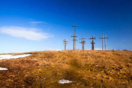 is established: the wooden crosses established on the hill. Belarus Stock Photo
