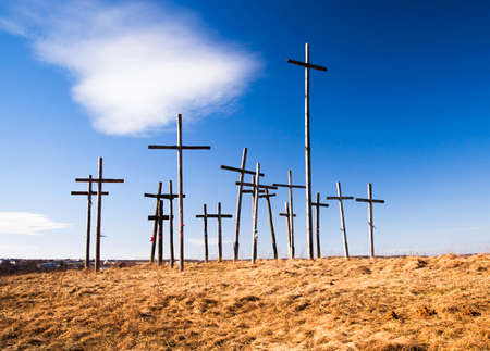 crucify: the wooden crosses established on the hill. Belarus Stock Photo