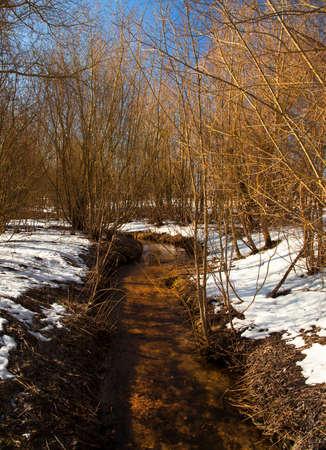 mud snow: the  small river in a winter season. Belarus