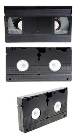 videocassette: vieja cinta de v�deo negro para la visualizaci�n de v�deo. aislado