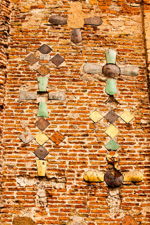 located: part of a wall of the ancient church located in the city of Grodno, Belarus. St Barys and Hleb Church, XI century