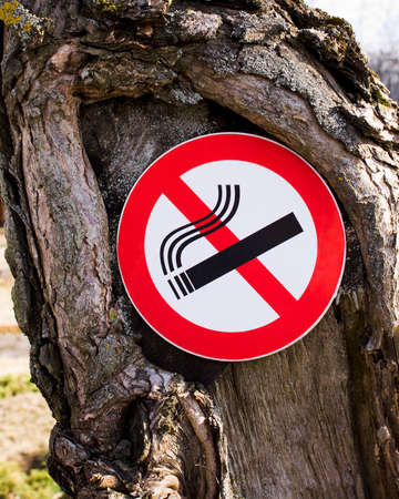 alerting: sign forbidding smoking, pinned on a tree Stock Photo