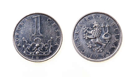 koruna: photographed close up one Czech koruna