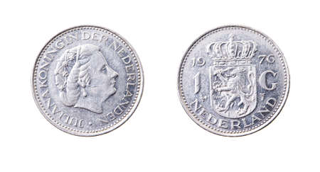 gulden: a Dutch coin, isolated on white