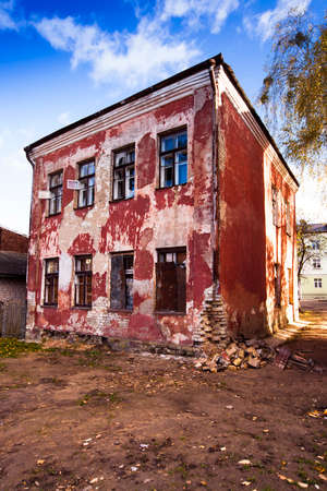 collapsing: the old house collapsing from time. Grodno, Belarus