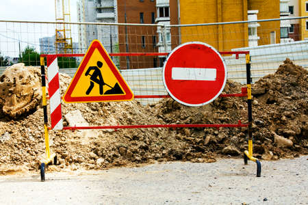 prohibiting: a sign prohibiting the movement near construction site