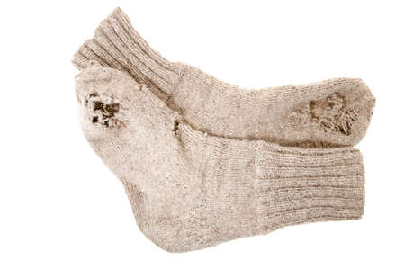 meagre: photographed close up sock, made by hand