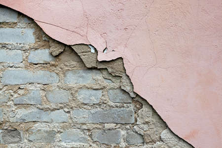 collapsing: the collapsing old wall photographed by a close up Stock Photo
