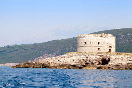 settles: the island on which ancient fortress settles down. Mamula island, Montenegro