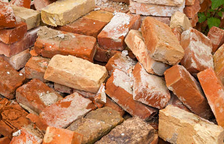 brownstone: the piled old bricks of red color. were used for construction