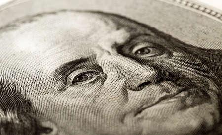 benjamin: a portrait of Benjamin Franklin on the hundred dollar bill. Close-up.