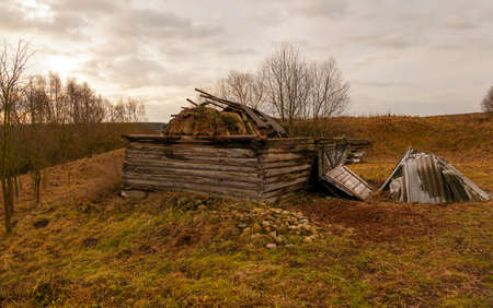 outbuilding: Collapsed old wooden outbuilding. Autumn. close up Stock Photo