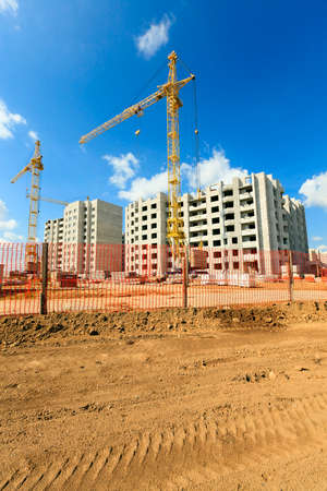 architectural building: construction of a new residential building in the small town. Belarus Stock Photo