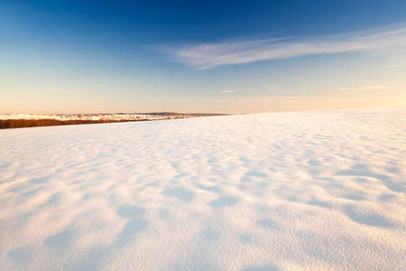 snow day: photographed field covered with snow. winter season