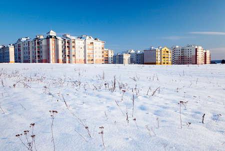 multi storey: new multi storey building in the winter. city