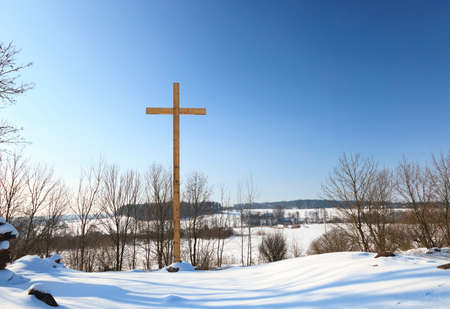crucify: wooden crosses, located in the countryside. Christianity Stock Photo